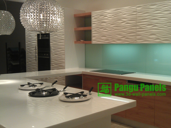 3d wall system in kitchen decoration